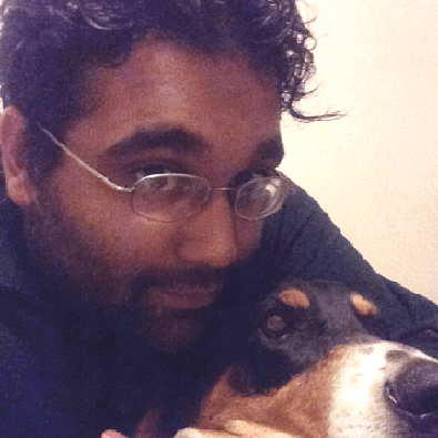 Arvind and a dog