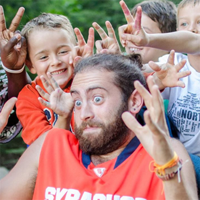 Jared hanging out with kids