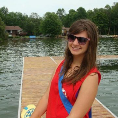 Andrea on a dock