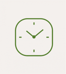a clock on a grey background