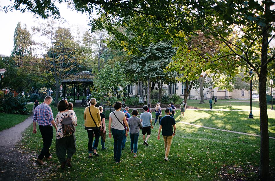 a group walking outside