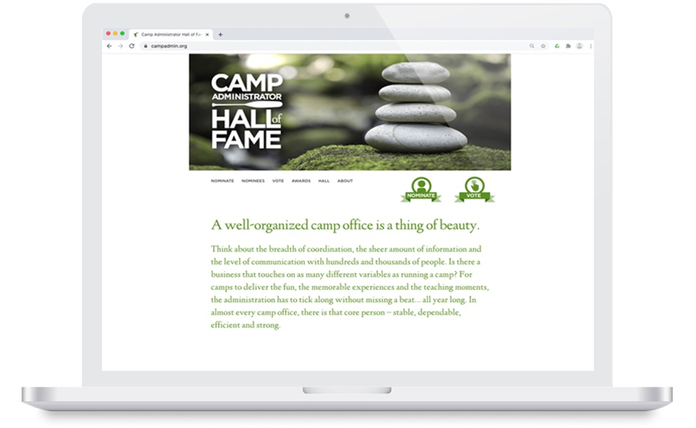 A computer with Camp Brain Administrator Hall of Fame displayed