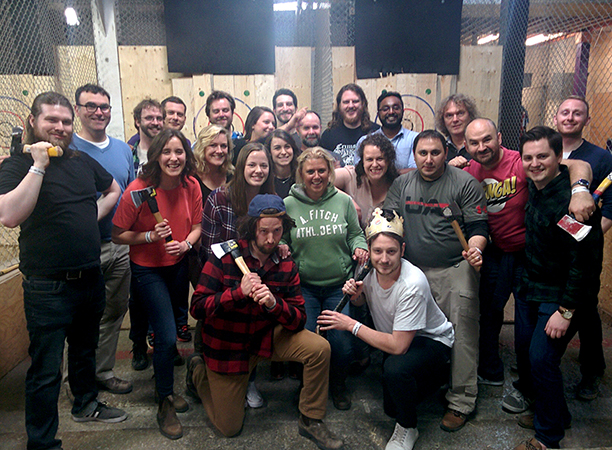 a group out axe throwing