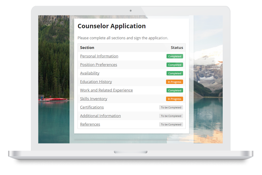 Laptop showing counsellor application