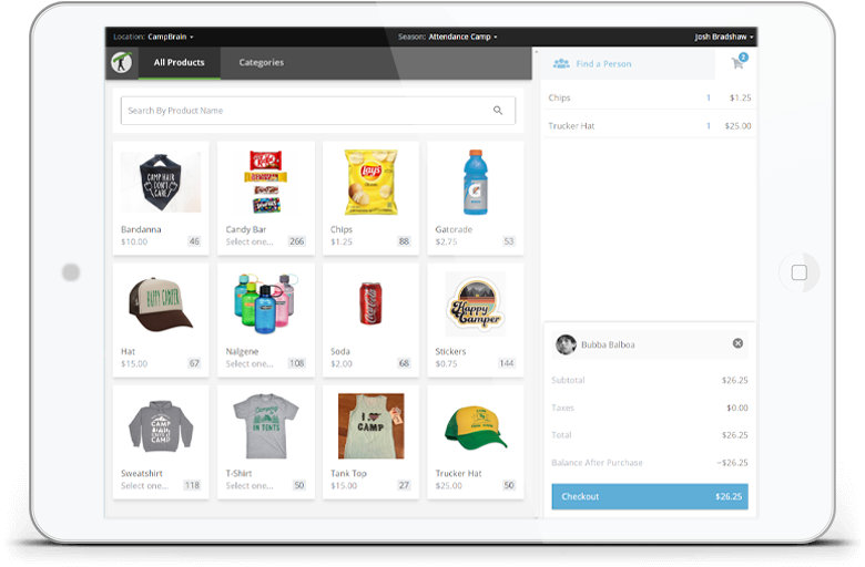 Tablet showing online store with a grid of products